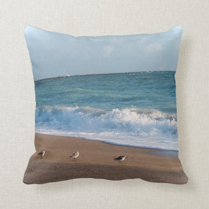 three birds on shore photo florida beach throw pillow