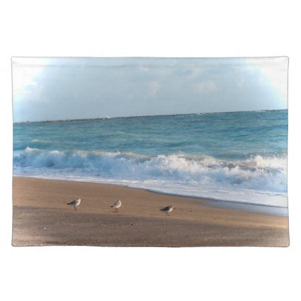three birds on shore photo florida beach placemat