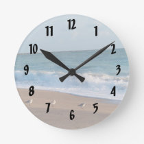 three birds on shore photo florida beach round clock