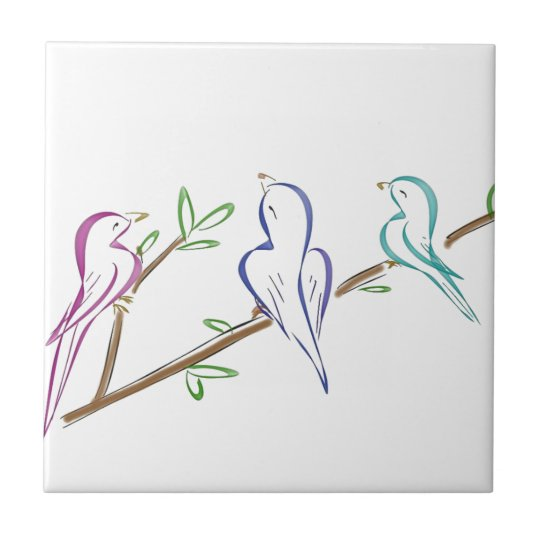 Three birds sitting on a branch ceramic tile