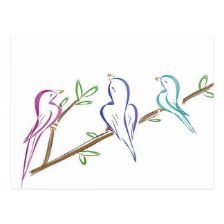 Three birds sitting on a branch postcard
