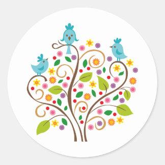 three birds round stickers