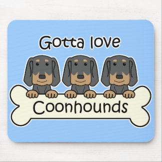 Three Black and Tan Coonhounds Mouse Pad