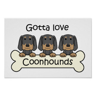 Three Black and Tan Coonhounds Print