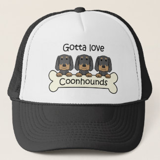 Three Black and Tan Coonhounds Trucker Hat