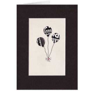 Three Black and White Balloon Greetings Card