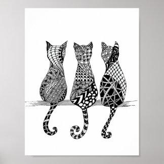 Three Black and White Cats Print
