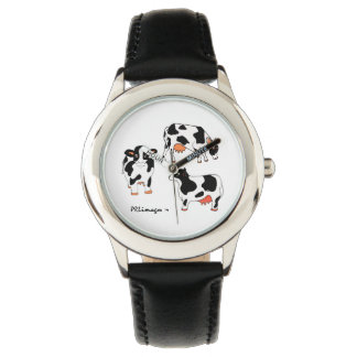 Three Black and White Cows Kid's Watch