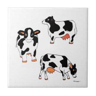 Three Black and White Cows  Tile