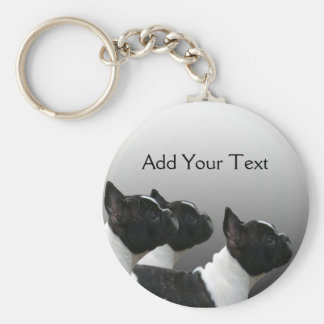 Three Black and White French Bulldogs Keychain