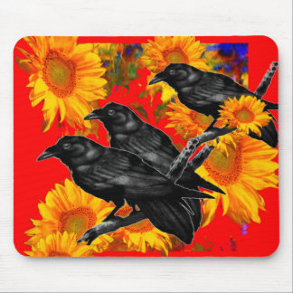 THREE BLACK BIRDS IN SUNFLOWER FIELDS MOUSE PAD