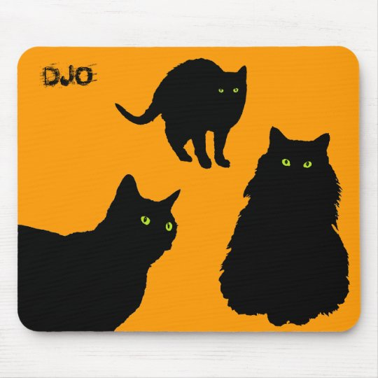 Three Black Cats and Orange Mouse Pad