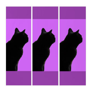 Three Black Cats And Purple Background Triptych