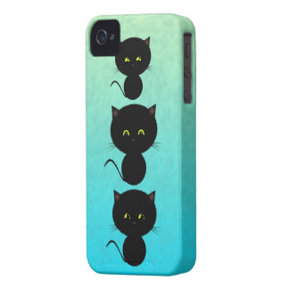 Three Black Cats on Turquoise iPhone 4 Covers