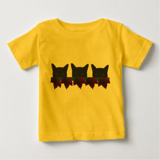 Three black cats with autumn leaves baby T-Shirt