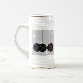 Three Black Christmas Baubles Custom Text Mugs