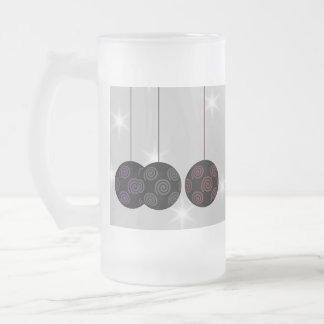 Three Black Christmas Baubles Custom Text Coffee Mugs