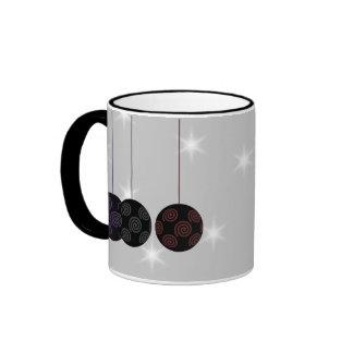 Three Black Christmas Baubles Custom Text Mug