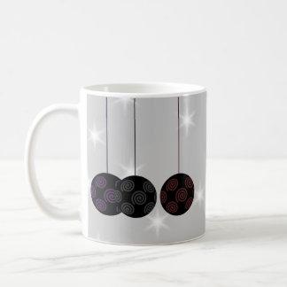 Three Black Christmas Baubles Custom Text Coffee Mug