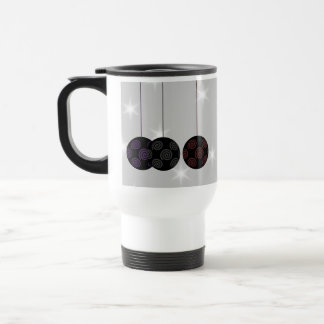 Three Black Christmas Baubles. Custom Text Mug