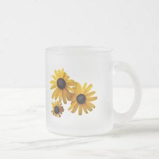 Three Black-Eyed Susans Frosted Glass Coffee Mug
