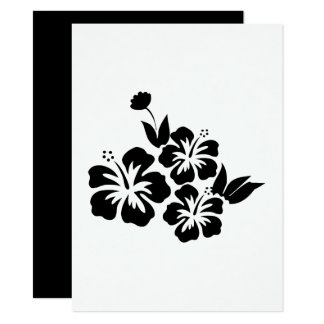 Three Black Hibiscus Tropical Flowers Card