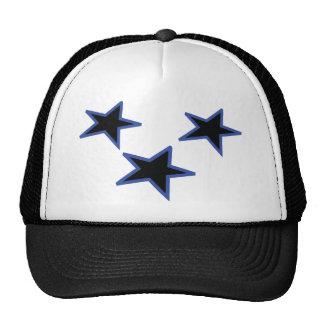 three black horizontal stars trucker hat