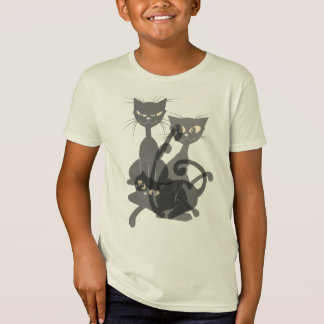 Three Black Kitties and a Pumpkin Shirt