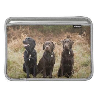 Three Black Labrador retrievers MacBook Sleeves