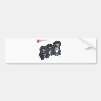 Three Black Silver Poodle Puppies Bumper Sticker