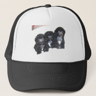 Three Black Silver Poodle Puppies Trucker Hat