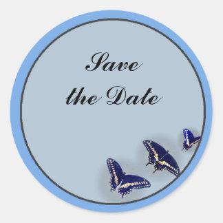 Three Black Swallowtail Classic Round Sticker