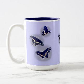 Three Black Swallowtail Two-Tone Coffee Mug