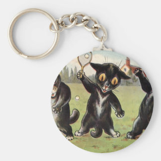 Three Black Tennis Cats Artwork by Louis Wain Basic Round Button Keychain