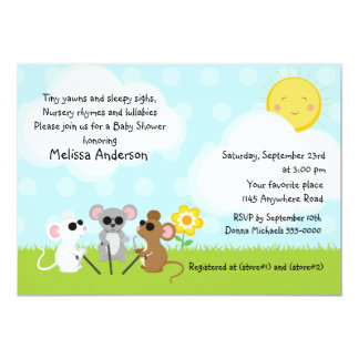 Three Blind Mice Nursery Rhyme Baby Shower Card