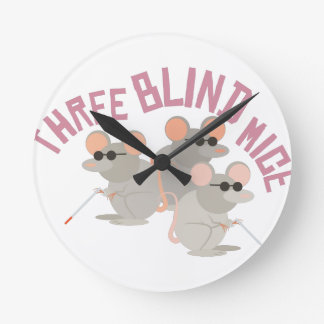 Three Blind Mice Round Clock
