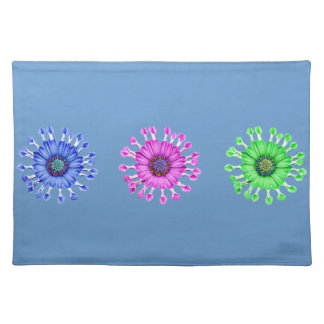 Three Blue Bell Tunicate Flowers in colors Placemat