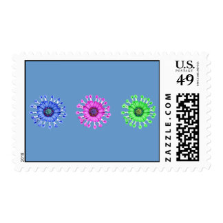 Three Blue Bell Tunicate Flowers in colors Postage