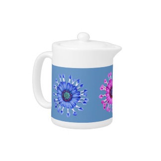 Three Blue Bell Tunicate Flowers in colors Teapot