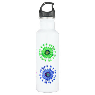 Three Blue Bell Tunicate flowers with colors Water Bottle