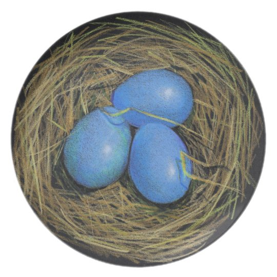 Three Blue Bird Eggs in Nest: Color Pencil Art Melamine Plate
