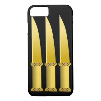 Three Blue Diamond Studded Gold Knives iPhone 8/7 Case