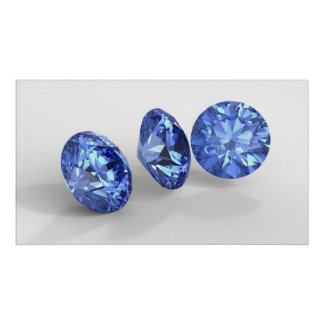 Three blue diamonds print