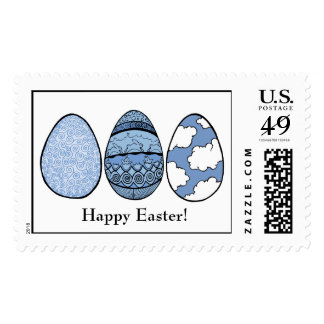 Three Blue Easter Eggs, Happy Easter! Postage Stamp