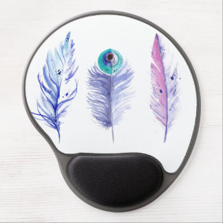 Three blue feathers gel mouse pad