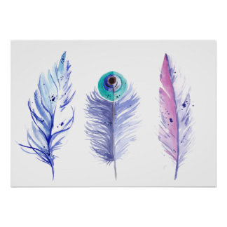 Three blue feathers poster