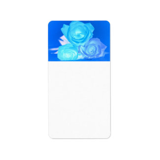Three blue roses inverted picture address label