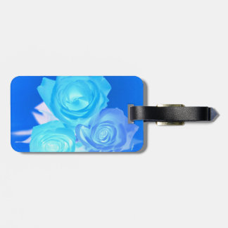 Three blue roses inverted picture bag tag