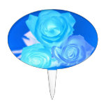 Three blue roses inverted picture cake pick