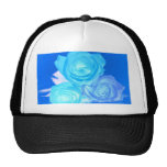Three blue roses inverted picture mesh hats